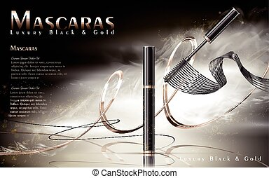 Luxury mascaras ads, black and golden package with...
