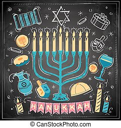 Happy Hanukkah, Jewish holiday background - illustration of...