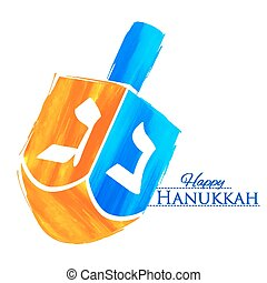 Happy Hanukkah, Jewish holiday background with dreidel -...