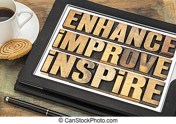 enhance, improve, inspire word abstract