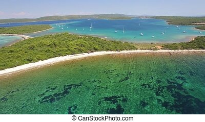 Aerial view of Veli Rat on the Adriatic island Dugi Otok,...