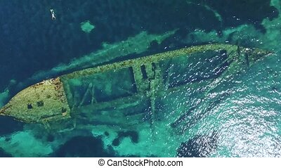 Aerial view of the sunken ship near the island Dugi otok