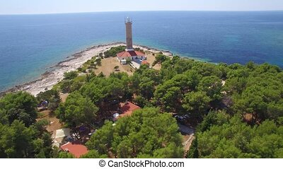 Aerial view of lighthouse of Veli Rat on the island Dugi...