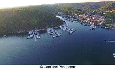 Aerial view of old town of Skradin at estuary of the Krka...