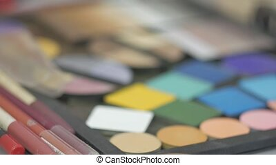 colored eye shadow palette for cosmetics soft focus shot -...