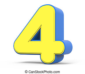 cute yellow number 4 - right leaning 3d rendering cute...