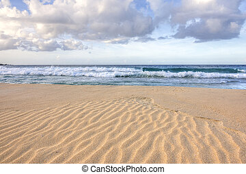 Ripples in sand on tropical beach - Wide angle closeup of...