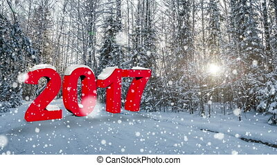 number 2017 Falling snow in the winter forest, CINEMAGRAPH,...