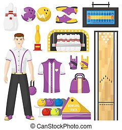 Bowling player with bowling equipment icons set. Vector...