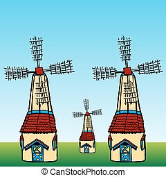 Windmills - An image of cartoon windmills.