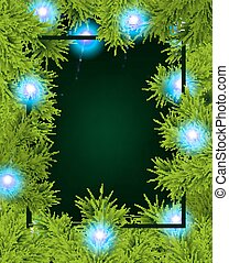Frame of fir branches and lights