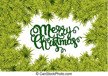 lettering merry Christmas frame of fir branches