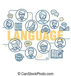Modern thin line concepts of learning foreign languages, language training school.