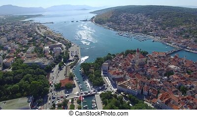Aerial shoot of Trogir old town. Croatian tourist...