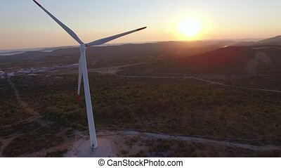 Aerial view of wind-turbines