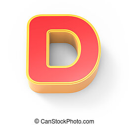 red letter D - yellow framed red letter D, 3D rendering...