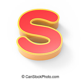 red letter S - yellow framed red letter S, 3D rendering...