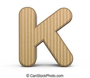 corrugated letter K - corrugated cardboard letter K, 3D...