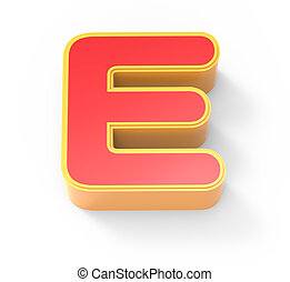 red letter E - yellow framed red letter E, 3D rendering...