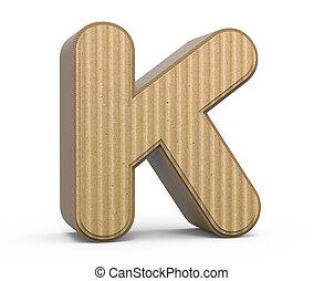 corrugated letter K - left tilt corrugated cardboard letter...