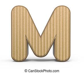 corrugated letter M - corrugated cardboard letter M, 3D...