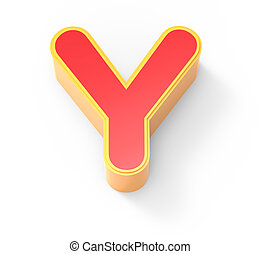 red letter Y - yellow framed red letter Y, 3D rendering...