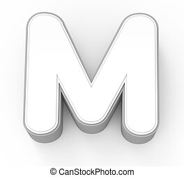 white letter M, 3D rendering graphic isolated on white...