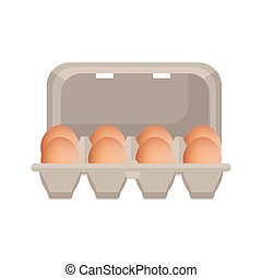 Fresh chicken eggs - Vector illustration egg box with brown...
