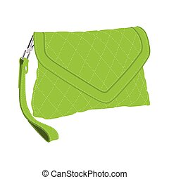 Green clutch bag - Vector illustration green fashion clutch...
