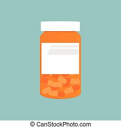 Orange pill bottle - Vector illustration orange pill bottle...