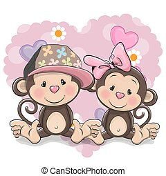 Two Cute Monkeys - Two Cute Cartoon Monkeys on a heart...