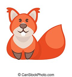 Squirrel funny cartoon character. Cute icon