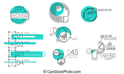 Infographic Elements In The Line Style. Blue Spot -...