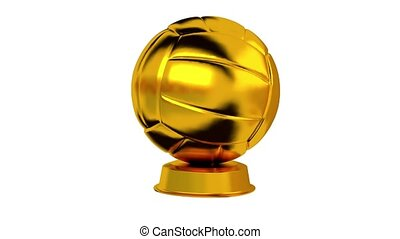 Volleyball trophy in Gold with white background - Turning...