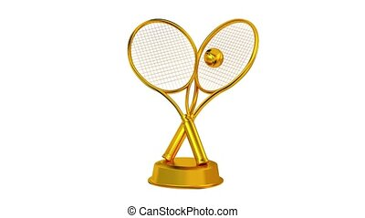Tennis trophy in Gold with white background
