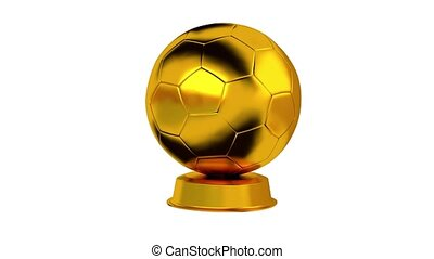 Football trophy in Gold with white background