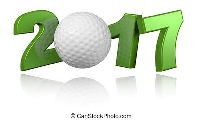 Golf 2017 with a white background - Golf ball 2017 with a...