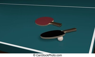 Table Tennis with two rackets and ball - Rotation around...