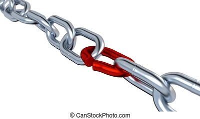 Rotation of Metallic Chain with One red Stressed Link -...
