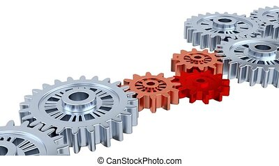 Silver Gears with One Red Turning with a White Background
