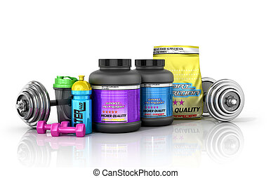 Sports nutrition with sports equipment on a white background. 3D illustration