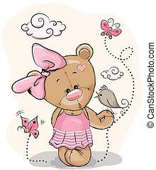 Teddy Girl and bird - Cute Cartoon Teddy Bear Girl with bird...