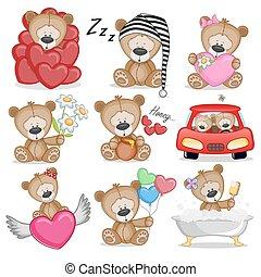 Cute Teddy Bear - Set of Cute Cartoon Teddy Bear on a white...