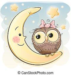 Owl on the moon - Cute Cartoon Owl girl on the moon