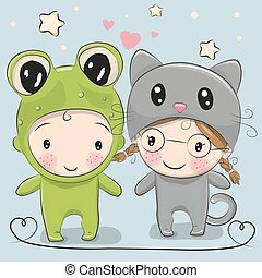 Cute Cartoon boy and girl - Cute Cartoon boy in a frog...