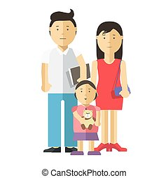 Portrait of happy family together: mother, father and child.