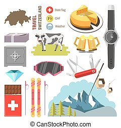 Switzerland travel collection. Vector Illustration. Isolated...