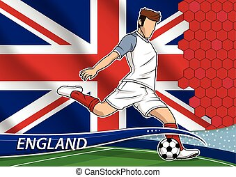 Soccer team player in uniform with state national flag of England.