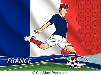 Soccer team player in uniform with state national flag of France.
