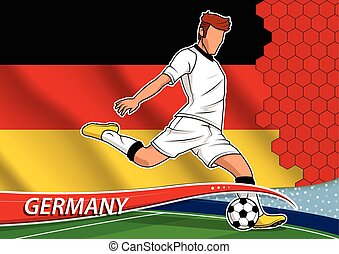 Soccer team player in uniform with state national flag of Germany. Vector illustration.